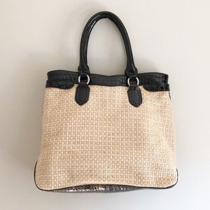 Cole Haan Jardiine Rafia Straw Tote with Croc Trim